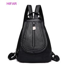 2019 New Fashion Backpack Womens Solid Color Travel Korean Version PU Soft Leather Tide Casual