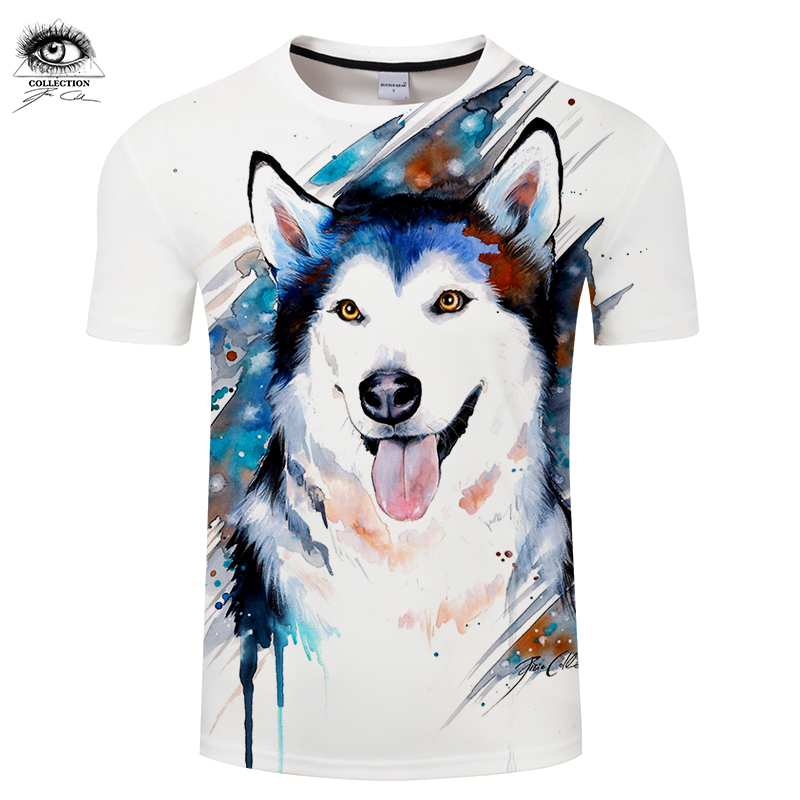 Husky by Pixie cold Art Funny Tshirts 3d Men T-shirts Dog T shirts Male Camisetas Hombre Animal Printed Tops Tees Brand ZOOTOP B