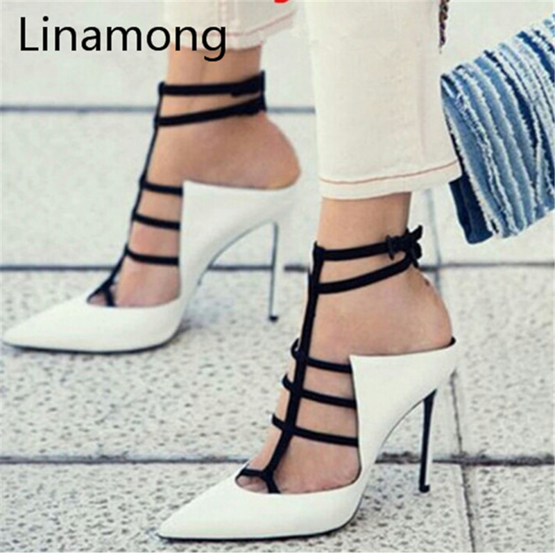 2017 Hot Selling White Cow Leather High Heel Sandals Open Toe ankle Buckle Strap Woman Sandals