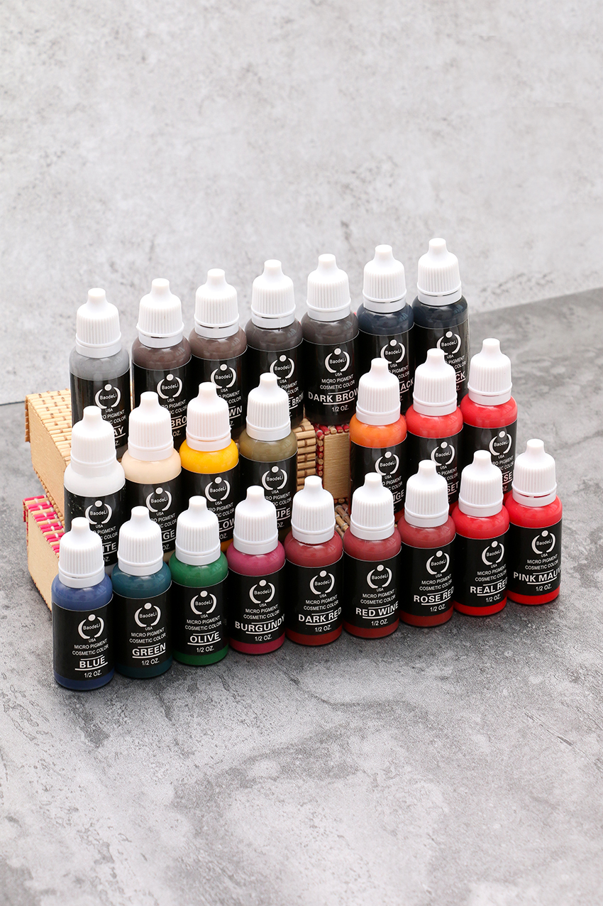 23 Pcs 1/2oz Permanent Makeup Micro Pigment Tattoo Ink Eyebrow Eyeliner Lip Body Tattoo Painting Ink Tools free shipping 3 pp eyeliner liquid empty pipe pointed thin liquid eyeliner colour makeup tools lfrosted purple
