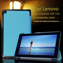 Imán cubierta del caso del soporte para Lenovo tab 3 7.0 710I esencial tab3 710F PU cubierta de cuero del caso + Película protectora + Pluma