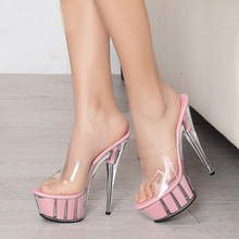 Women Bright Sexy Pumps 15CM High Heel Shoes Pole Dancer Platform Slides Sandals Queen Thin High Heel Slippers  Plus Size 44
