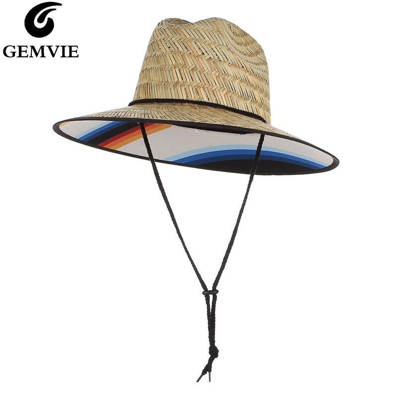 GEMVIE New Unisex Wide Brim Panama Straw Hat Summer Hats For Women/Men Chin Strap Sun Hat Lady Beach Cap Windproof UV Protection
