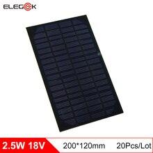 ELEGEEK 20Pcs/Lot Monocrystalline Silicon 2.5W 18V Solar Panel 130mAh DIY Solar Panel Cell Module for Education 200*120mm
