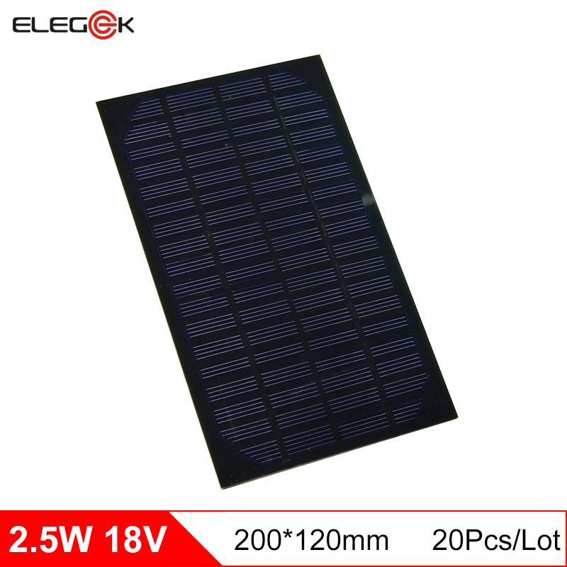 ELEGEEK 20Pcs/Lot Monocrystalline Silicon 2.5W 18V Solar Panel 130mAh DIY Solar Panel Cell Module for Education 200*120mm