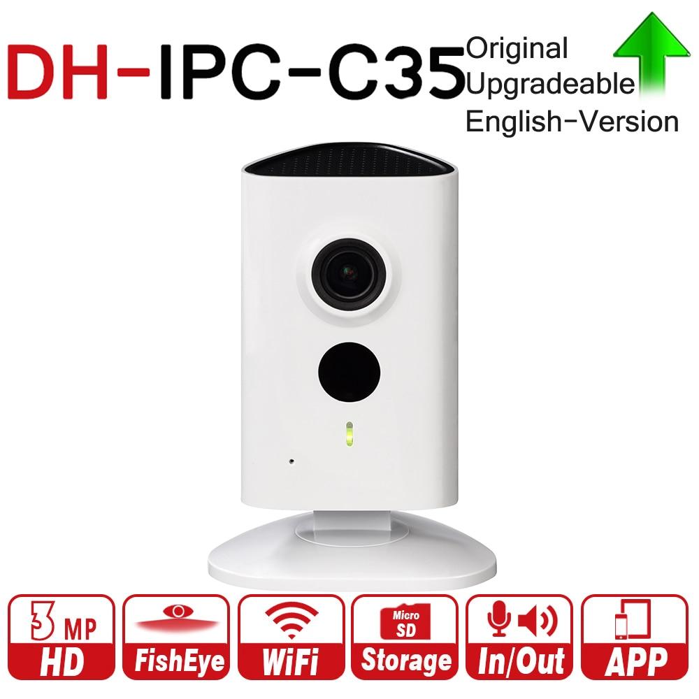 DH IPC-C35 с логотипом оригинальный 3MP серии C сети Wi-Fi IP Камера широкий угол зрения Micro SD карты локального для хранения Ночное видение Wi-Fi