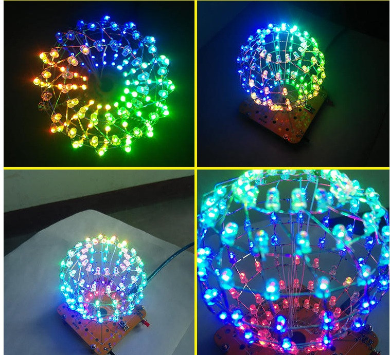 Colarful LED ball display Rhythm lamp with infrared remote control Electronic DIY kits Soldering Kits DIY Brain training Toy