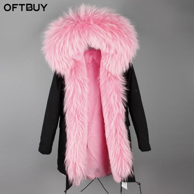 OFTBUY 2017 nouveau rose veste d hiver femmes longue parka véritable manteau  de fourrure gros fb68c010853