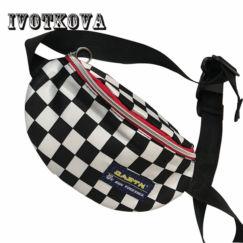 все цены на IVOTKOVA Fashion Women and Men Waist Bag Plaid Travel Shoulder Pack Female Funny Bag High Quality Chest Bags Drop Shipping