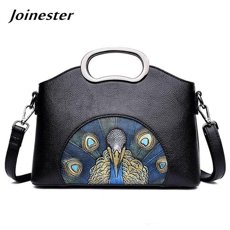 Soft PU Leather Retro Vintage Lady Handbag Peacock Lotus Printing Crossbody Bag for Women Metal Ring