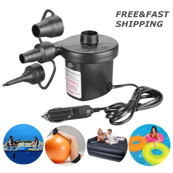 12V Car Auto 3 Nozzles inflatable boat Air suction Pump gas-fill Air compressor  Electric Air Pump for Beds Mattresses Toys