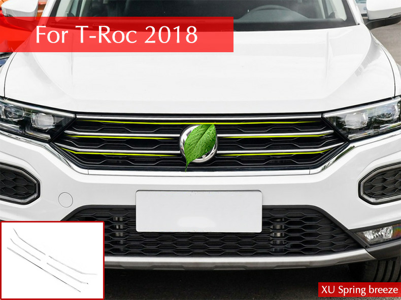 купить Car Set the front hood Billet grill grill mesh Horizontal Style Sticker Car Styling 5Pcs/Set For VW T-Roc 2017 2018 недорого