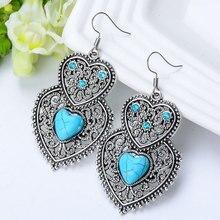 SHUANGR, винтажные серьги-капли с синим натуральным камнем, двойное сердце, кристалл, для женщин, хорошее ювелирное изделие, аксессуары для женщин