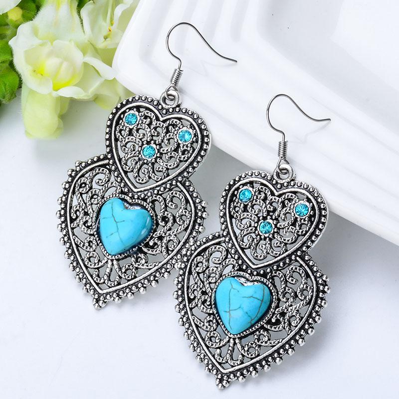 SHUANGR Vintage Heartstone Blue Natural Stone Double Heart Crystal Drop Earrings For Women Fine Jewelry Accessories femme
