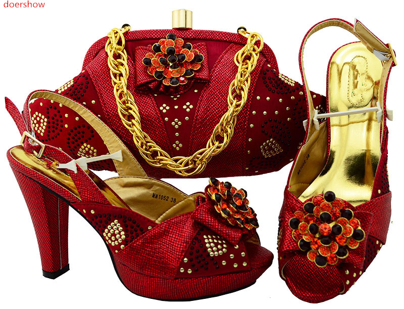 doershow  Italian matching shoe and bag set african wedding shoe and bag set RED HSK1-36 italian visual phrase book