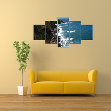5 Pieces Canvas Photo Prints Coastal Waves Sunset Wall Art Picture Paintings Home Decor Artwork Frame