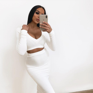 Image 3 - NewAsia Sexy Two Piece Set V neck Long Sleeve Crop Top Long Skirt Set Party Clothing Sets Outfit Women Two Piece Outfits 2020
