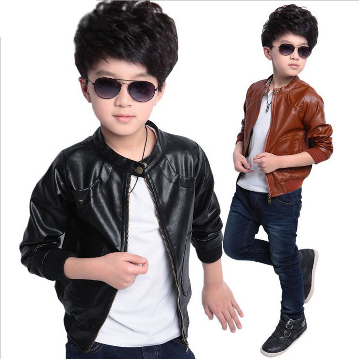 5e1911439 Top Quality Brand Designer Children Outerwear Baby Boys Girls PU Leather  Jacket spring autumn Toddlers Kids Coat