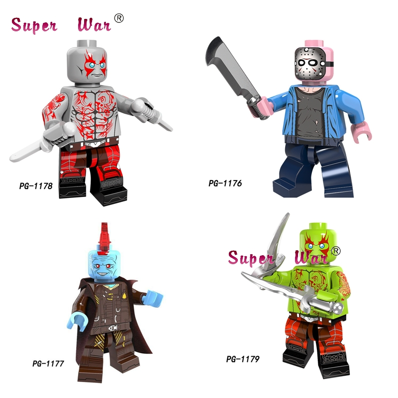 1PCS Super Hero OW SOLDIER 76 Guardians Of The Galaxy Drax The Destroyer Yondu Jason Voorhees building blocks toy for children