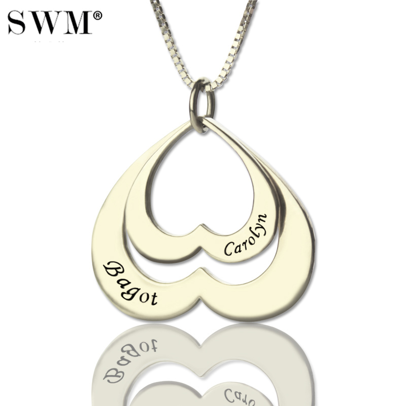 Women Jewelry Costume Two Names Necklace Inverted Double Heart in Heart Suspension Chain Sterling Silver Necklaces Colares Joias