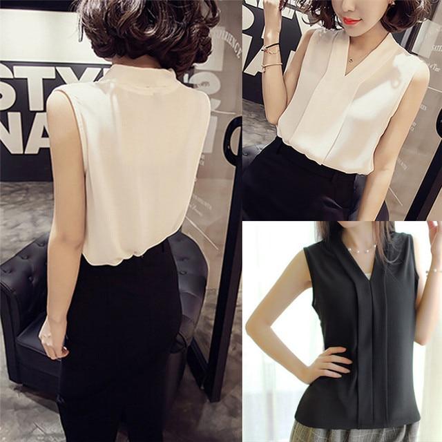 397a794fb22 2018 New Fashion Women Chiffon Blouses Ladies Tops Female Sleeveless Shirt  Blusas Femininas White