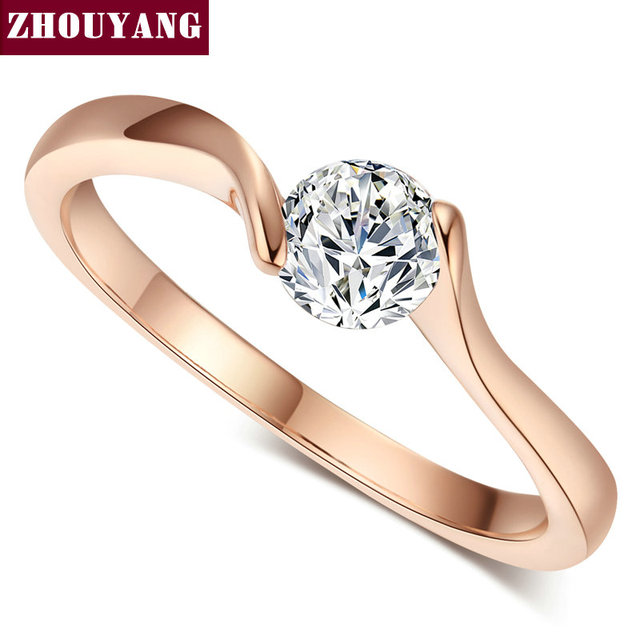 ZHOUYANG Wedding Ring For Women Concise 4mm Round Cut Cubic Zirconia Rose Gold C
