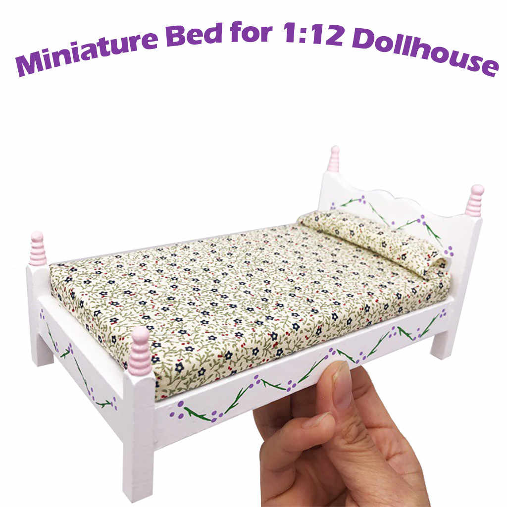 Wood and cotton wood doll house furniture mini bed set miniature living room children pretend toys