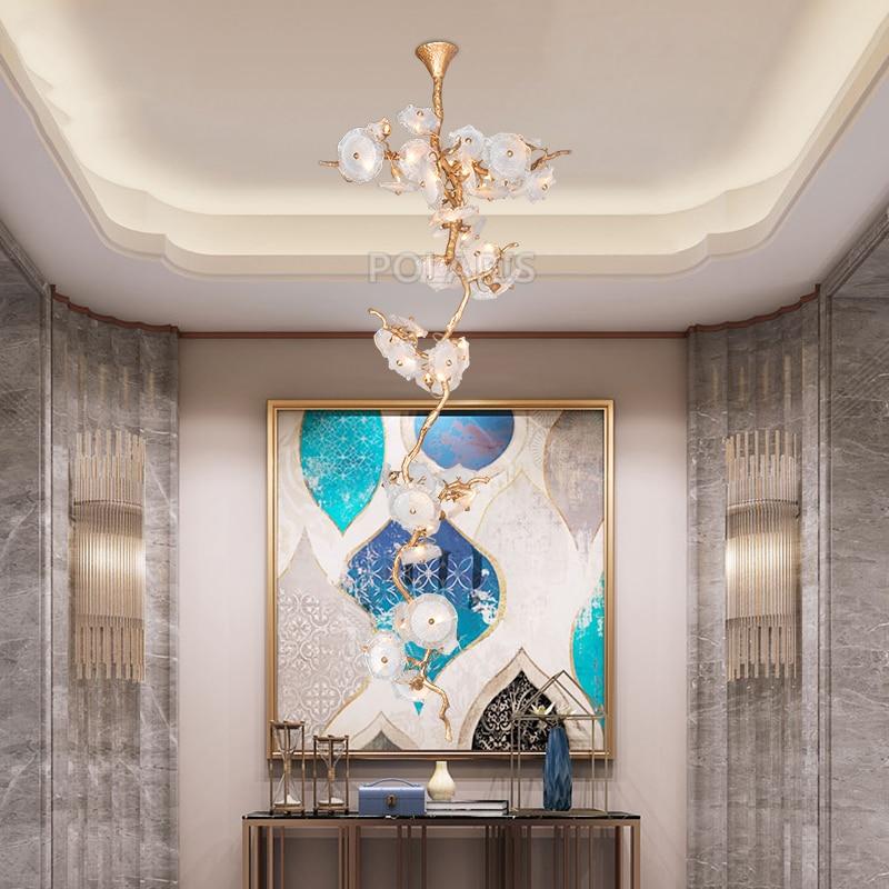 Luxury Brass Chandelier Lighting LED Chandeliers Glass Drop Chandelier Lamp Copper Pendant Hanging Light for Home Hotel Decor