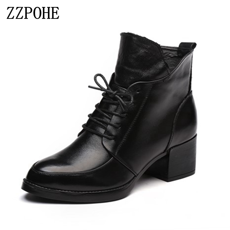 цены  ZZPOHE Women Boots Winter Fashion Lace Up Genuine Leather Ankle Boots Woman Casual Low Heels Platform Autumn Shoes free shipping