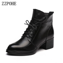 ZZPOHE Women Boots Winter Fashion Lace Up Genuine Leather Ankle Boots Woman Casual Low Heels Platform Autumn Shoes free shipping