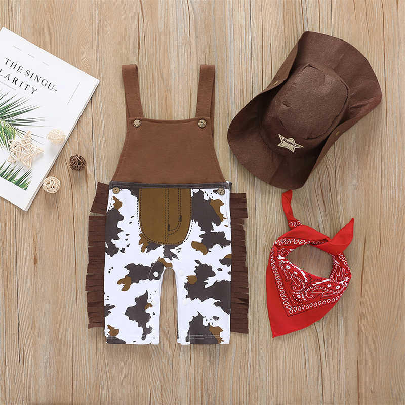 3 teile/satz Infant Baby Mädchen Junge Cowboy Quaste Strampler Kleidung Outfit Overall Overall