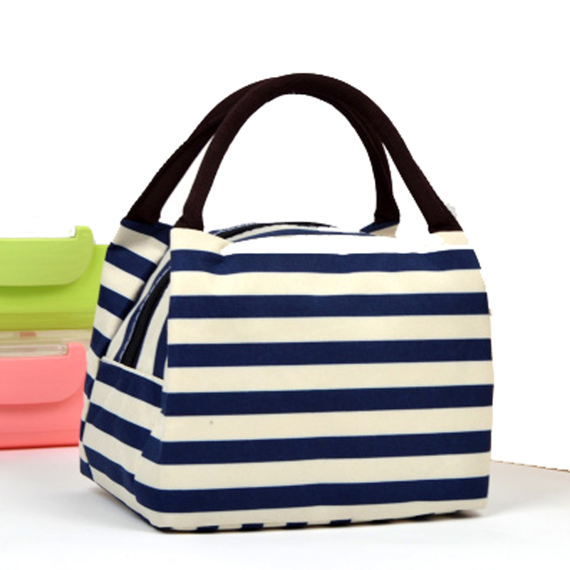 Cheap Price Fashionable Striped Pattern Women Lunch Bag High Quality Canvas Lunch Box Casual Small Top-handle Shopping Bag high quality flowers and shopping girl pattern removeable wall stickers