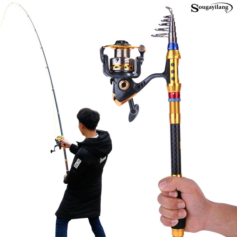Sougayilang 1.8-3.0m Telescopic Fishing Rod And Spinning Sea Fishing Reel Combo Carp Carbon Fishing Rod Reels Sets vara de pesca