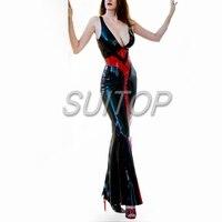 Облегающий латексный, резиновый платье черный цвет сексуальный клуб длинные платья русалки longuette