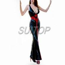 Latex Rubber tight Dress black color sexy club long mermaid dresses  longuette
