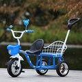 12 polegada crianças gêmeos do bebê triciclo bicicleta triciclo assento duplo tandem trike