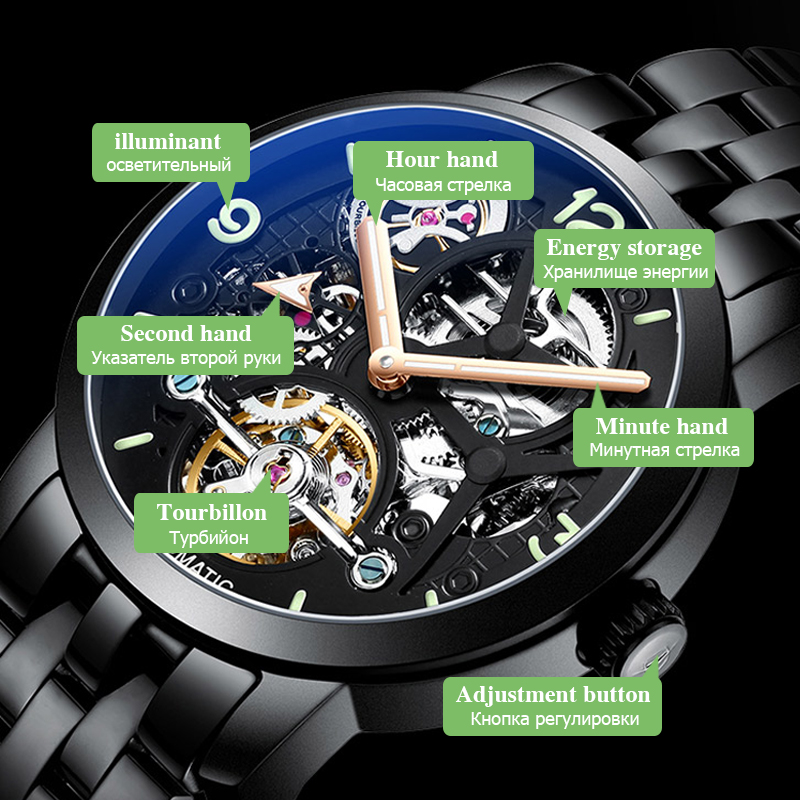 AILANG time luxury brand watches the best automatic mechanical watch men full steel business sport waterproof watches Male watch - 3