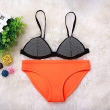 2017 Women Bikini Set Push up Swimwear Beach bathing suit Nets Sling Neoprene Two piece Swimsuit