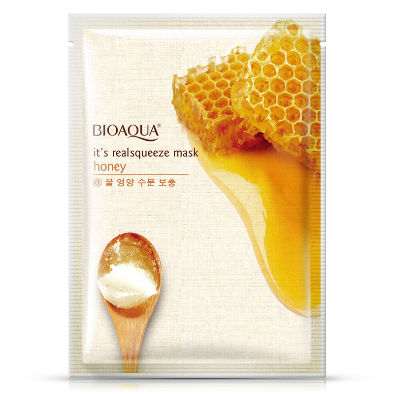 BIOAQUA Honey Facial Mask Moisturizing Shrink Pores Face Mask Oil Control Brighten Nourishing Mask Skin Care brand 5pcs face skin beauty care set kit olive oil mask cleanser facial cream toner lotion whitening moisturizing shrink pores