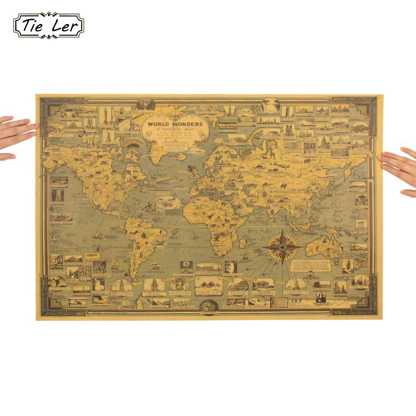 Vintage World Map Great Building Kraft Paper Poster Wall Sticker Art Craft Map Bar Cafe Decor 68 5X51 5cm in Wall Stickers from Home Garden