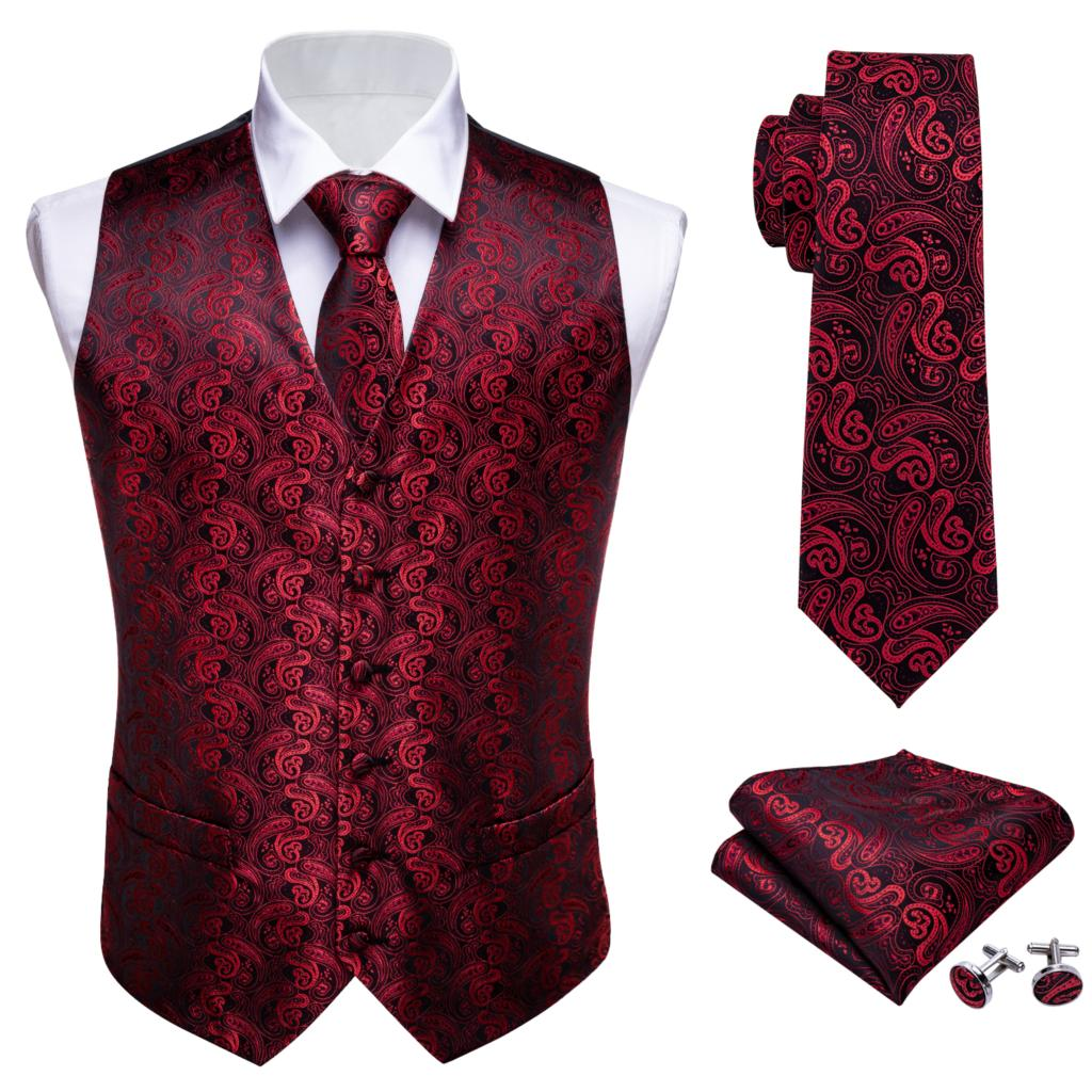 Mens Tie Classic Red Paisley Jacquard Silk Waistcoat Vests Handkerchief Party Wedding Tie Vest Suit Pocket Square Set Barry.Wang