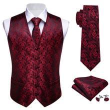 Мужской галстук классический красный Пейсли жаккард Шелковый жилет жилеты платок вечерние Свадебный галстук жилет Карманный платок для костюма набор Barry.Wang
