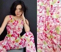 tulle textile Red autumnal leaves printed 16 moomin silk dress material tela costura tkanina na metry pink fabric tissu mariage