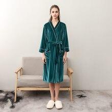 f0be7cb079 Winter NEW Women Flannel Robe Dress Sexy Lovers Couple Nightwear Kimono  Bath Gown Nightgown Sleepwear Plus