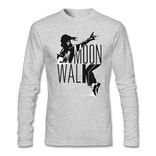 rock The Moonwalk T-Shirt maker for man Long sleeved Plus size Michael Jackson dance man t-shirt Natural Cotton Casual Tops