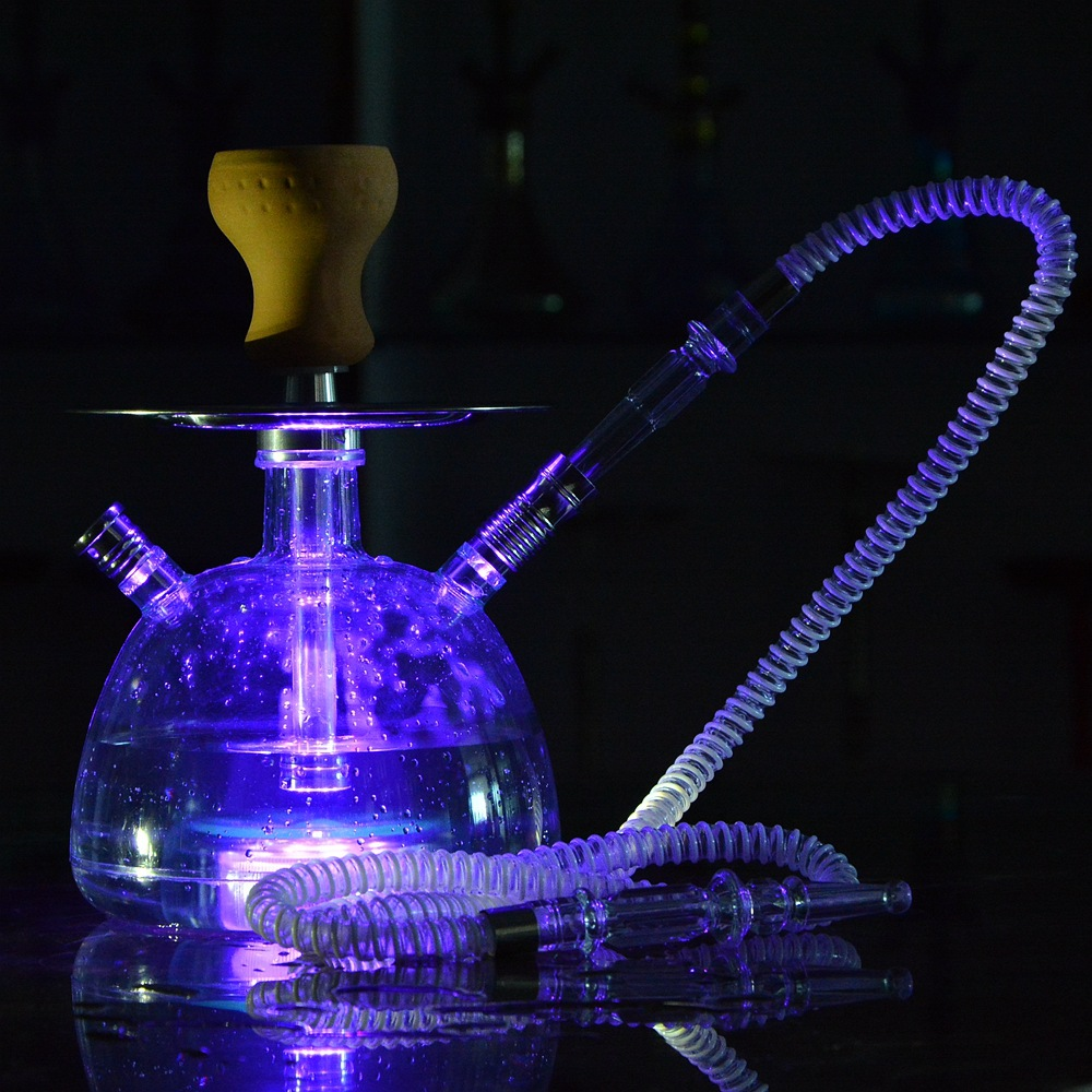 LED Light Shisha Pipe Hookah Set Transparent Acrylic Ceramic Bowl Plastic Hose Charcoal Tongs Chicha Narguile Accessories