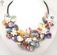 Women Jewelry natural white pearl bright Multicolor mixed 5 flowers pendant shell mother of pearl necklace black leather 18