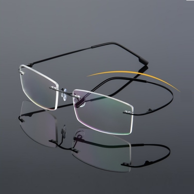 b223705c00 Ultra light elastic titanium stainless steel frameless frame rimeless  eyglasses frames with Hinge myopia steel wire foldable
