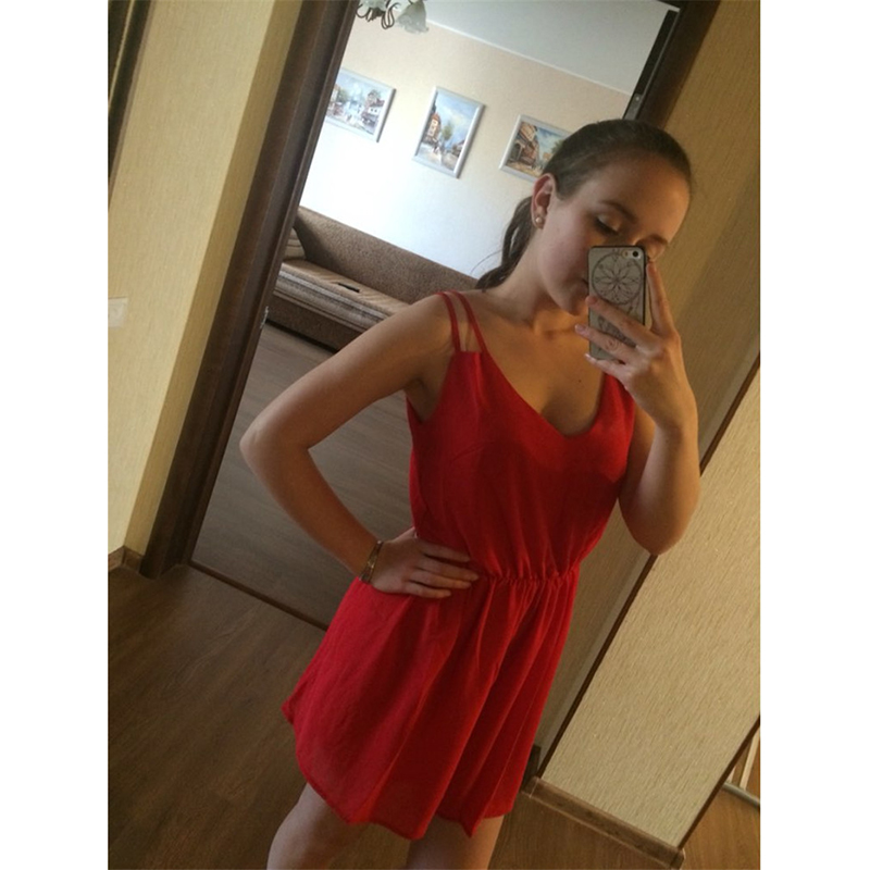 GOPLUS 2018 Summer Style Chiffon Party Dress Women Casual V neck Beach Dress Sleeveless Red Black Sweet Mini Dresses Plus Size 4