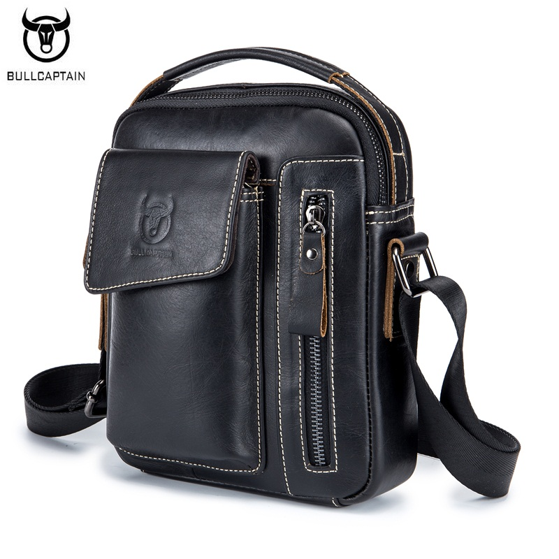 BULLCAPTAIN Genuine Leather Men Shoulder Crossbody Bags Cow Leather Fashion Handbag Brand Casual Men's Messenger Bag Black